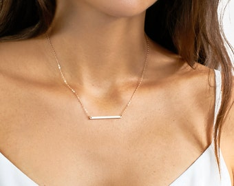 Dainty Bar Necklace . Skinny Bar Necklace . Gold Layering Necklace in 14kt Gold Fill, Sterling Silver, Rose Gold Fill H235