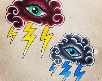 Neo-Tradtional Tattoo Flash, Stormy Eyes