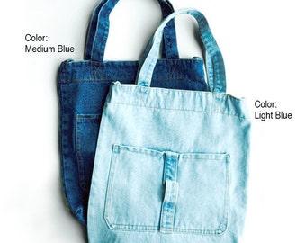 Medium/ Light Blue Denim Shopper Bag, Denim Tote Bag, Denim Hand Bag, Denim Grocery Bag, Denim School Bag Or Denim Bag with Pins Set (Opt.)