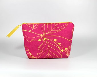 Hot Pink with Yellow Leaf Zipper Pouch