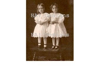 Vintage Photo - Sweet Sepia Sisters - Instant Download
