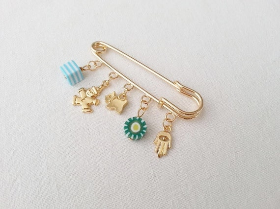 Baby Boy Gift Gold : Gold baby boy safety pinbaby s giftprotection babygood
