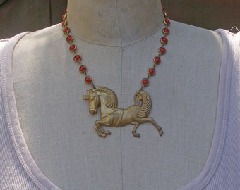 Carousel Horse Necklace, Circus Carnival Horse Necklace, Prancing Horse Necklace, Equestrian Jewelry, Vintage Assemblage Necklace