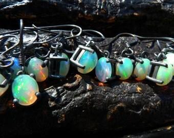 SEMI-ANNUAL SALE Opal dangle earrings   Opal drop earrings   Natural opal earrings   Fire opal earrings   Birthstone earrings   Gift for her