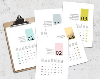 Modern Wall Calendar 2017 in English French Spanish German, Printable Pastel Design JAN - DEC, A4 A3 Letter Tabloid Sizes, Office Calendar
