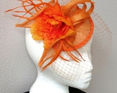SALE! Orange fascinator flower wedding fascinator hat  netting veil ORANGADA
