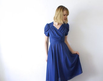 SALE...70s midi dress. royal blue dress. drape dress. Grecian goddess dress. blue midi dress - small