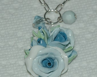 """Rose Pendant, Silver Chain, Blue Roses, Rosebuds, 24"""" chain, Cottage Style Roses with Blue Fade, CreatingCottage, Deep Discount Sale"""