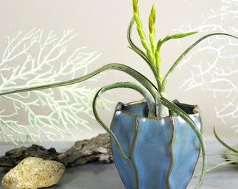 Sea Blue Mini Planter Ceramic vase, geometric plant pot, Modern Pottery, Handmade Succulent Air plant cactus planter, summer home desk decor