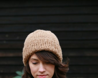 Hand Knit Beanie, Mens Beanie, Womens Beanie, Teen Hat, Brim Hat, Winter Accessories