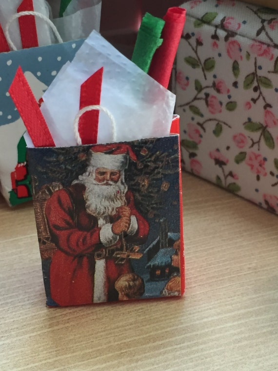 Miniature Santa Shopping Bag Filled With Tissue and Ribbon, Dollhouse Miniature, 1:12 Scale, Holiday Decor, Dollhouse Accessory, Christmas