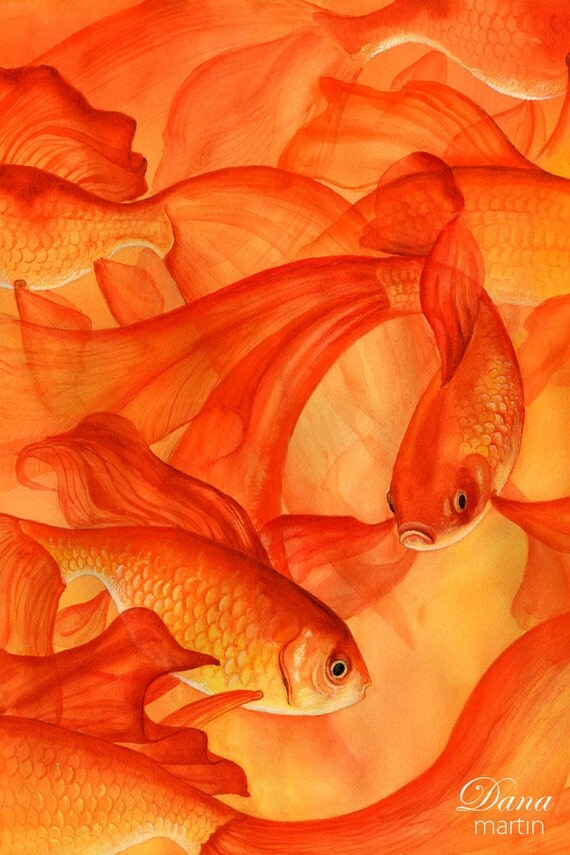 Goldfish Art Goldfish Watercolor Goldfish Print Gold Fish