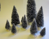 9 miniature bottle brush trees - LEMAX - 2.25 to 8.5 inches - plastic bases - green, flocked, sisal