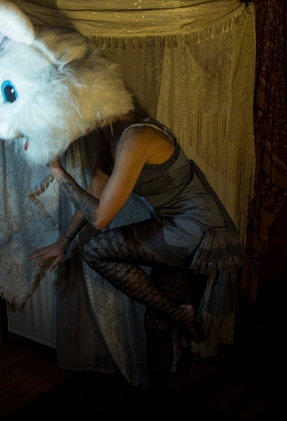 Hand dyed Grey Tattered Burlesque Dress