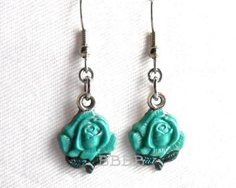 Blue Green Rose Earrings