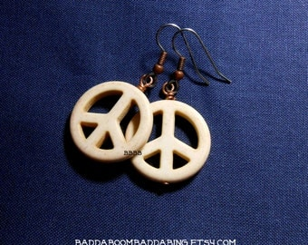 White Peace Earrings Boho Earrings Surgical Steel French Hooks with Antiqued Copper Accents Magnesite Howlite Gemstone Beads