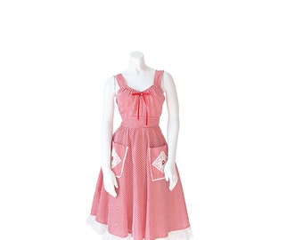 1970s Dress • 70s Gingham Pin-Up Rockabilly Picnic Dress • Small S