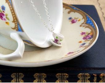 Floral Teacup Necklace - Tea Cup Favours - Teacup Jewellery