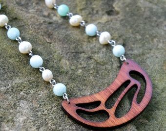 Wood Pendant with Amazonite Crystal and Pearl Chain