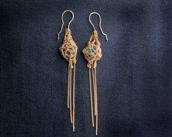 medusa, fringe earrings, dangle earrings, rough gemstone, rare crystalline gem silica, crochet earrings, ooak jewelry