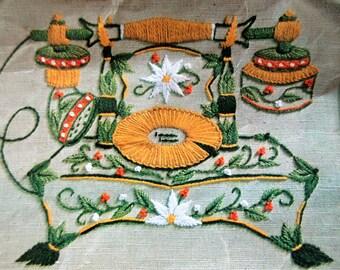 Vintage Needlecraft Kit, Vintage Telephone Embroidery, Crewel Embroidery Kit, Golden Bee Stitchery 501, Vintage Crafting, Cat Crewel Kit