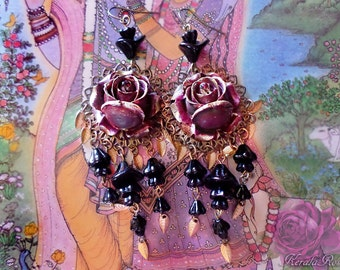"Black Glass Floral Gothic Red Rose Chandelier Earrings, Antique Brass Filigree Leaf Charm Earrings, 4"" Garnet Burgundy Red Hand-Painted"