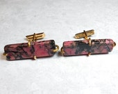 Vintage Cufflinks, Gemstone Cufflinks, Gold Filled, Rhodonite Cufflinks, Pink and Black, Large Cuff Links, Mid Century, Upscale Mens