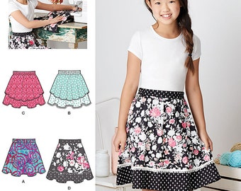 Simplicity Pattern S0901/8106 Girls' Learn to Sew Skirts Sizes 8-16 NEW