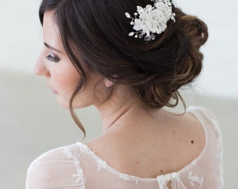 Lace Headpiece, Wedding Hair Accessories, Crystal Beaded Headpiece, Ivory Lace Bridal Hair Clip, Lace Bridal Hair Accessories, READY TO SHIP