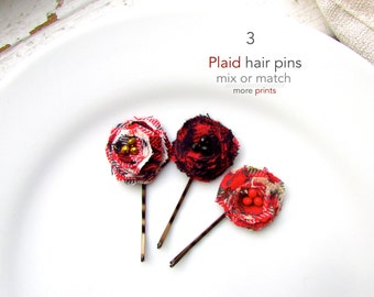 PICK 3 Fall Plaid Fabric Hair Clips Women, Flannel Plaid hair Pin, Bobby Pins, Red and Black Buffalo Check Hair Accessory, Teen Gift for Her
