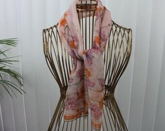 Vintage long Vera Scarf Ladybug Nylon Silk Chiffon Japan