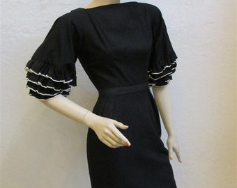 """On Sale! Early 1960's Vintage """"MAM'SELLE"""" by Betty Carol Black Wiggle Dress With White and Black Ruffle Sleeves - 23 1/2 inch waist"""