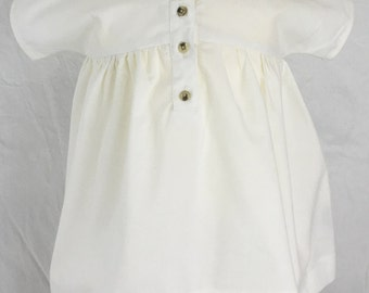 White Baby Smock Dress, size 3 months in Organic Cotton