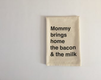 Baby shower gift, breastfeeding burp cloth baby gift, 100% cotton burp cloth | Mommy brings home the bacon & the milk