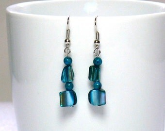 Aqua Shell Earrings: Women's Dangle Earrings, Natural Shell and Jasper Beads, Nickle-Free Earwires, Handmade in the USA, Ready to Ship