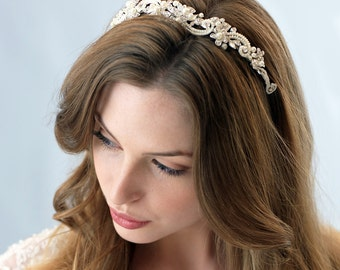 Pearl & Rhinestone Bridal Headband, Pearl Wedding Headband, Elegant Bridal Hair Accessory, Bride Headband, Floral Bridal Headpiece ~TI-3156