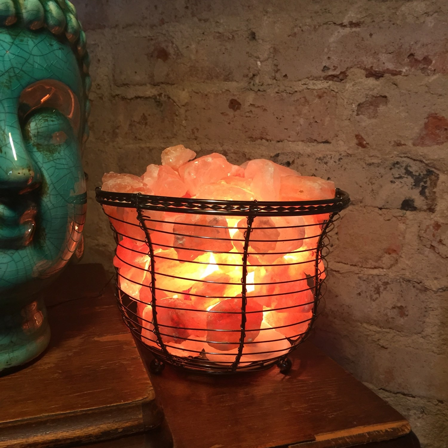 Pink Sea Salt Lamps : SALT LAMP BASKET Ionic Himalayan Sea Salt Basket Lamp
