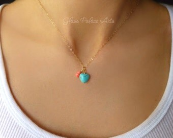 Turquoise and Coral Necklace, Small Turquoise Necklace, Small Dainty Necklace, Turquoise Heart Choker, Turquoise Jewelry Gift, Gift For Her