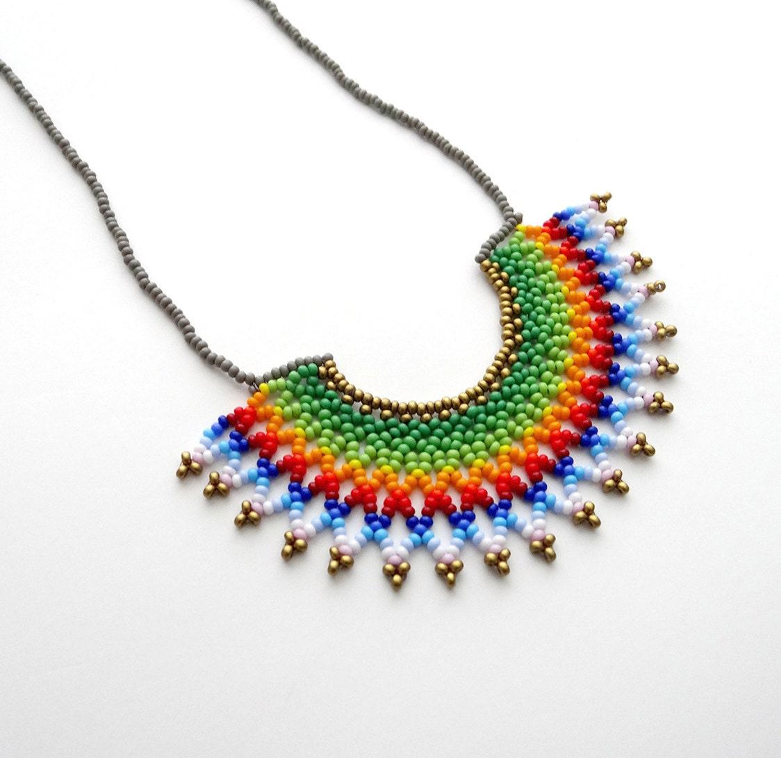 peyote beaded green rainbow mexican half moon necklace