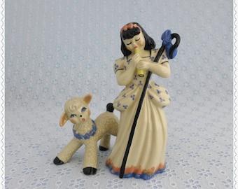 Little Bo Peep, Vintage Figurines, Ceramic Arts Studio, Frisky Baby Lamb, 1940's Collectibles, Nursery Rhyme Series, Betty Harrington