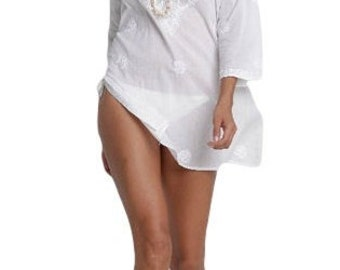 White Beach Kaftan / Caftan, Beach Cover Up with Hand-Embroidery