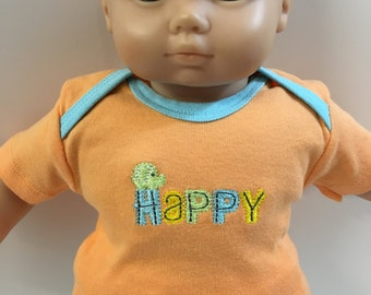 "BOY 15 inch Bitty Baby Clothes, TOP Only, ""HAPPY""-Little Elephant Orange Top, 15"" Ag American Doll Bitty Boy or Twin, Top Only- 4.00 Dollars"