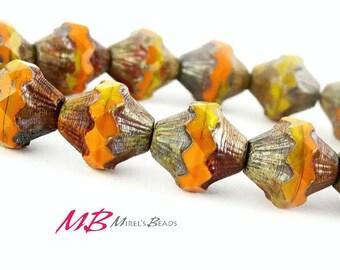 Orange and Musterd Bicone Beads, 11x10mm Czech Glass Beads
