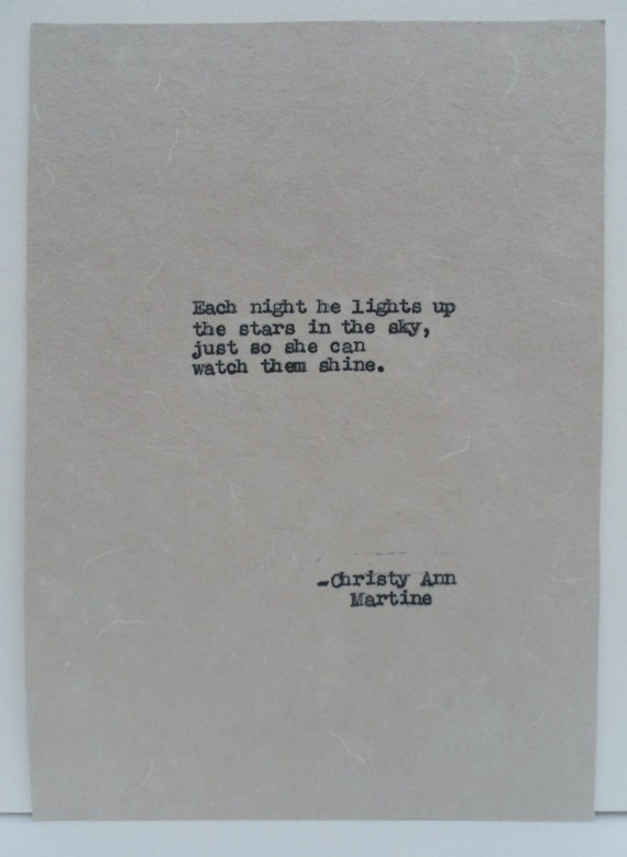 Love Quote - Cute Gift for Boyfriend - Hand Typed by Author - Romantic Gifts for Girlfriend or Boyfriend