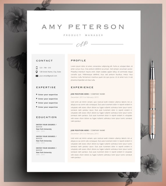 Creative Resume Template CV Template Instant Download - Resume Size Letter Or A4
