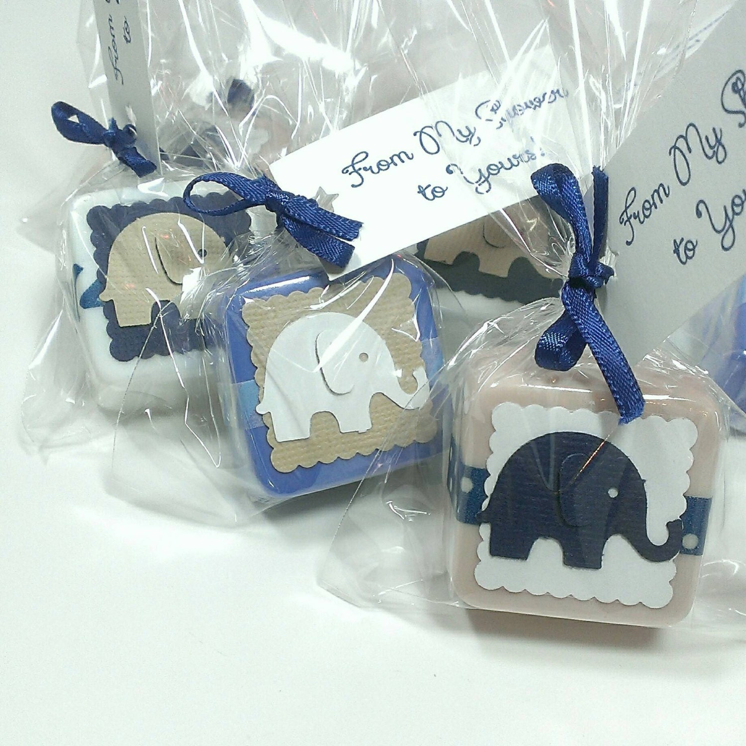 Baby boy elephant baby shower favors in blue cream and white