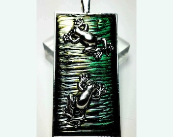 Double Tree Frogs on Silver and Green Necklace Handmade unique gift, gift for her, gift for wife, gift for daughter, tree frog lover gift
