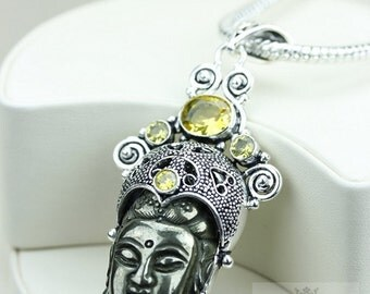 Gotta Get This! Kwan Yin Guanyin BUDDHA Goddess Face Moon Face 925 S0LID Sterling Silver Pendant + 4MM Chain & Free Shipping p3753