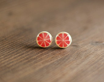 Grapefruit Stud Earrings, citrus fruit, summer ear studs, acidulate