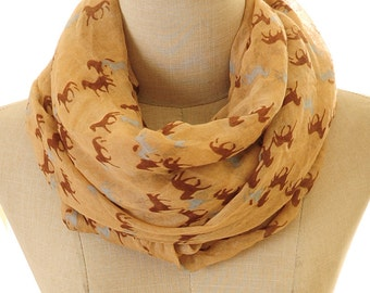 Horse Scarf | Horse Infinity Scarf | Beige Scarf | Animal Scarf | Horse Lover Gift | Brown Scarf | Horse Rider S-98
